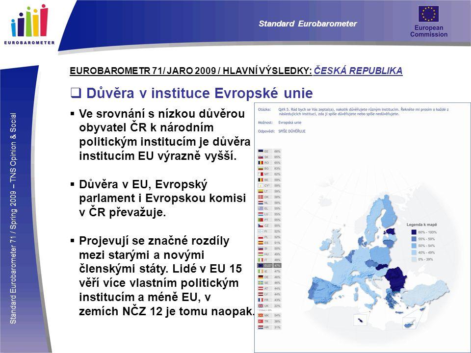 Standard Eurobarometer 71 / Spring 2009 – TNS Opinion & Social Standard Eurobarometer EUROBAROMETR 71/ JARO 2009 / HLAVNÍ VÝSLEDKY: ČESKÁ REPUBLIKA  Důvěra v instituce Evropské unie  Ve srovnání s nízkou důvěrou obyvatel ČR k národním politickým institucím je důvěra institucím EU výrazně vyšší.
