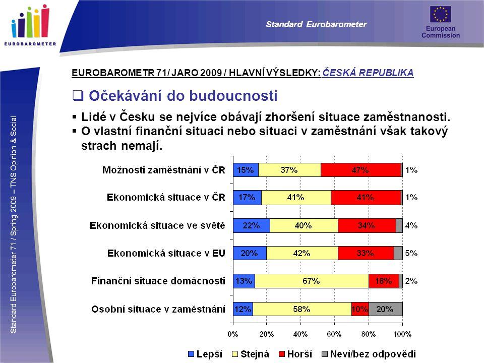 Standard Eurobarometer 71 / Spring 2009 – TNS Opinion & Social Standard Eurobarometer EUROBAROMETR 71/ JARO 2009 / HLAVNÍ VÝSLEDKY: ČESKÁ REPUBLIKA  Očekávání do budoucnosti  Lidé v Česku se nejvíce obávají zhoršení situace zaměstnanosti.
