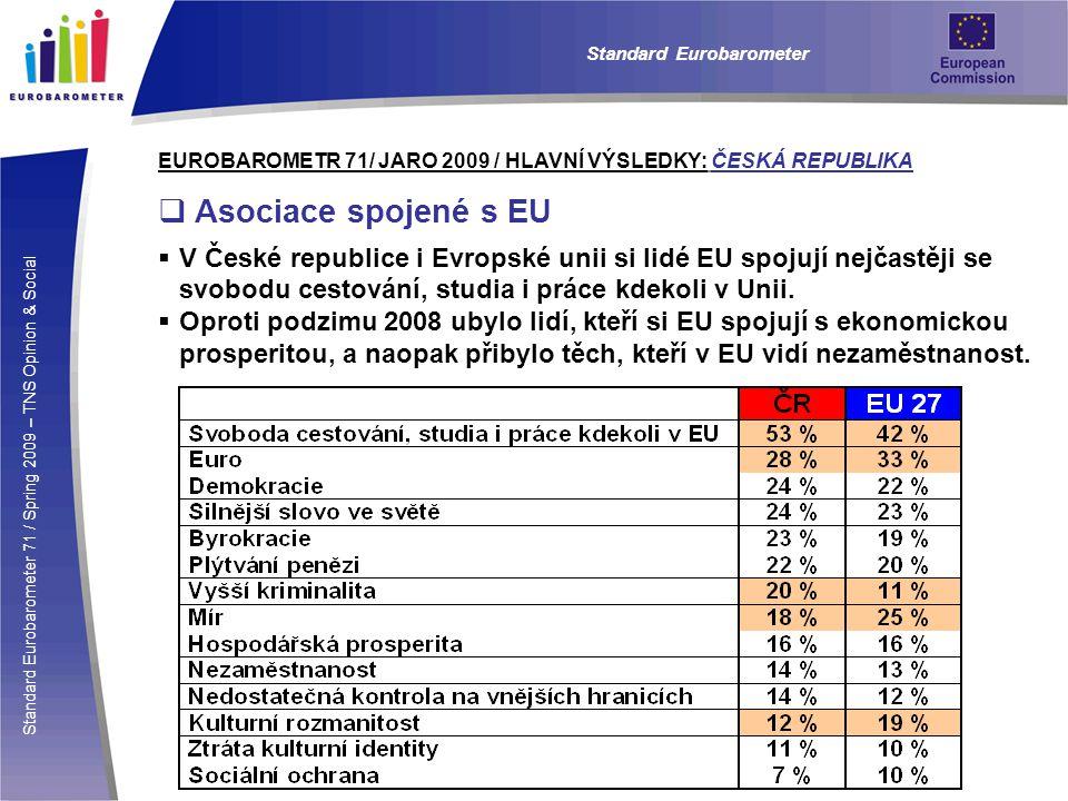 Standard Eurobarometer 71 / Spring 2009 – TNS Opinion & Social Standard Eurobarometer EUROBAROMETR 71/ JARO 2009 / HLAVNÍ VÝSLEDKY: ČESKÁ REPUBLIKA  Asociace spojené s EU  V České republice i Evropské unii si lidé EU spojují nejčastěji se svobodu cestování, studia i práce kdekoli v Unii.
