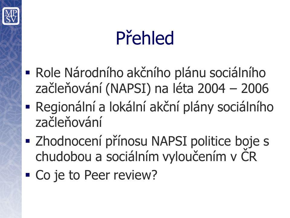 Přehled  Role Národního akčního plánu sociálního začleňování (NAPSI) na léta 2004 – 2006  Regionální a lokální akční plány sociálního začleňování  Zhodnocení přínosu NAPSI politice boje s chudobou a sociálním vyloučením v ČR  Co je to Peer review?
