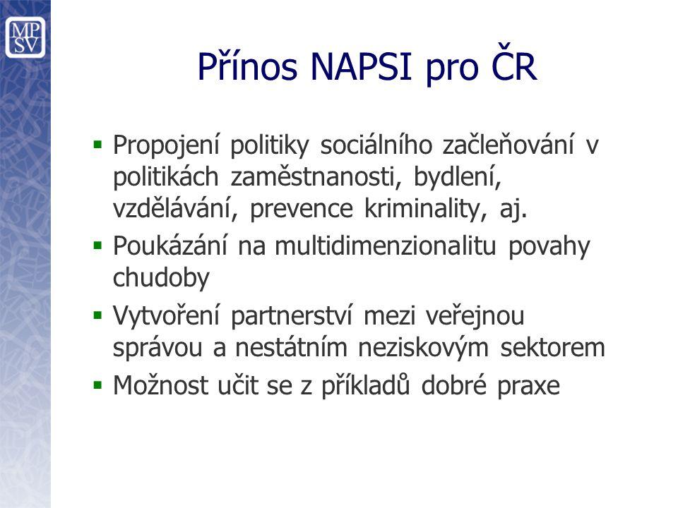 Přínos NAPSI pro ČR  Propojení politiky sociálního začleňování v politikách zaměstnanosti, bydlení, vzdělávání, prevence kriminality, aj.