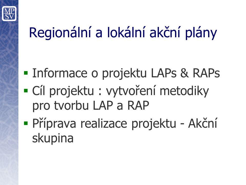 Regionální a lokální akční plány  Informace o projektu LAPs & RAPs  Cíl projektu : vytvoření metodiky pro tvorbu LAP a RAP  Příprava realizace projektu - Akční skupina