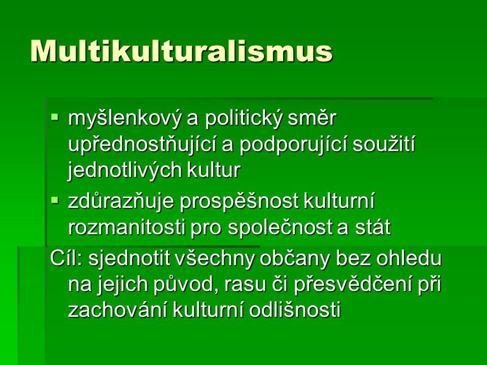 Multikulturalismus  myšlenkový a politický směr upřednostňující a podporující soužití jednotlivých kultur  zdůrazňuje prospěšnost kulturní rozmanitosti pro společnost a stát Cíl: sjednotit všechny občany bez ohledu na jejich původ, rasu či přesvědčení při zachování kulturní odlišnosti