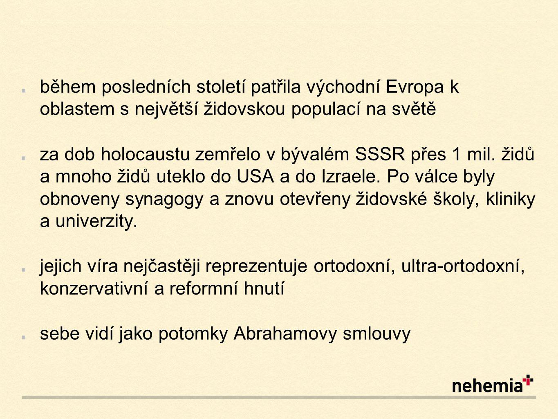 během posledních století patřila východní Evropa k oblastem s největší židovskou populací na světě za dob holocaustu zemřelo v bývalém SSSR přes 1 mil