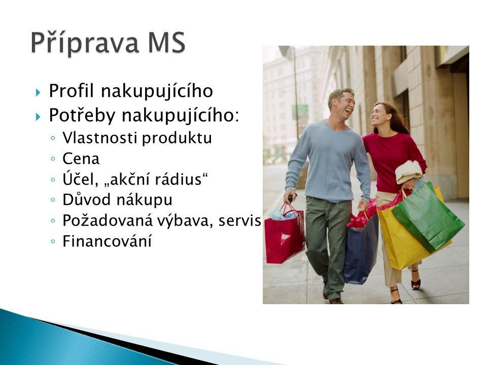 """ Profil nakupujícího  Potřeby nakupujícího: ◦ Vlastnosti produktu ◦ Cena ◦ Účel, """"akční rádius ◦ Důvod nákupu ◦ Požadovaná výbava, servis ◦ Financování"""