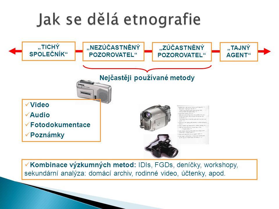 """Nejčastěji používané metody """"TICHÝ SPOLEČNÍK """"NEZÚČASTNĚNÝ POZOROVATEL """"ZÚČASTNĚNÝ POZOROVATEL """"TAJNÝ AGENT Kombinace výzkumných metod: IDIs, FGDs, deníčky, workshopy, sekundární analýza: domácí archiv, rodinné video, účtenky, apod."""