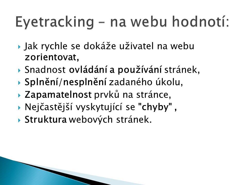  Jak rychle se dokáže uživatel na webu zorientovat,  Snadnost ovládání a používání stránek,  Splnění/nesplnění zadaného úkolu,  Zapamatelnost prvků na stránce,  Nejčastější vyskytující se chyby ,  Struktura webových stránek.