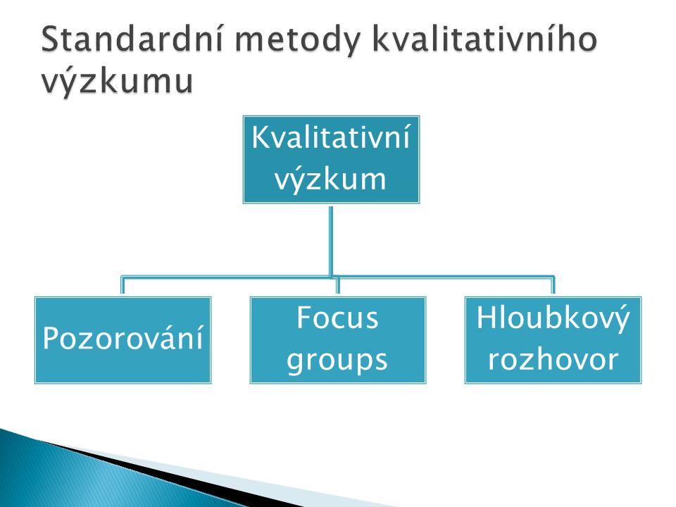 Kvalitativní výzkum Pozorování Focus groups Hloubkový rozhovor