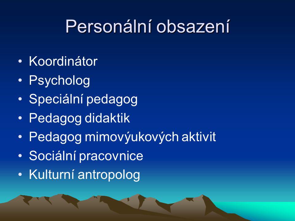 Personální obsazení Koordinátor Psycholog Speciální pedagog Pedagog didaktik Pedagog mimovýukových aktivit Sociální pracovnice Kulturní antropolog