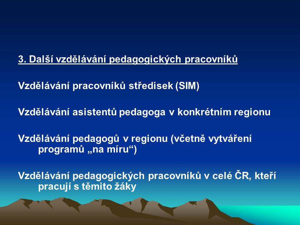 3. Další vzdělávání pedagogických pracovníků Vzdělávání pracovníků středisek (SIM) Vzdělávání asistentů pedagoga v konkrétním regionu Vzdělávání pedag