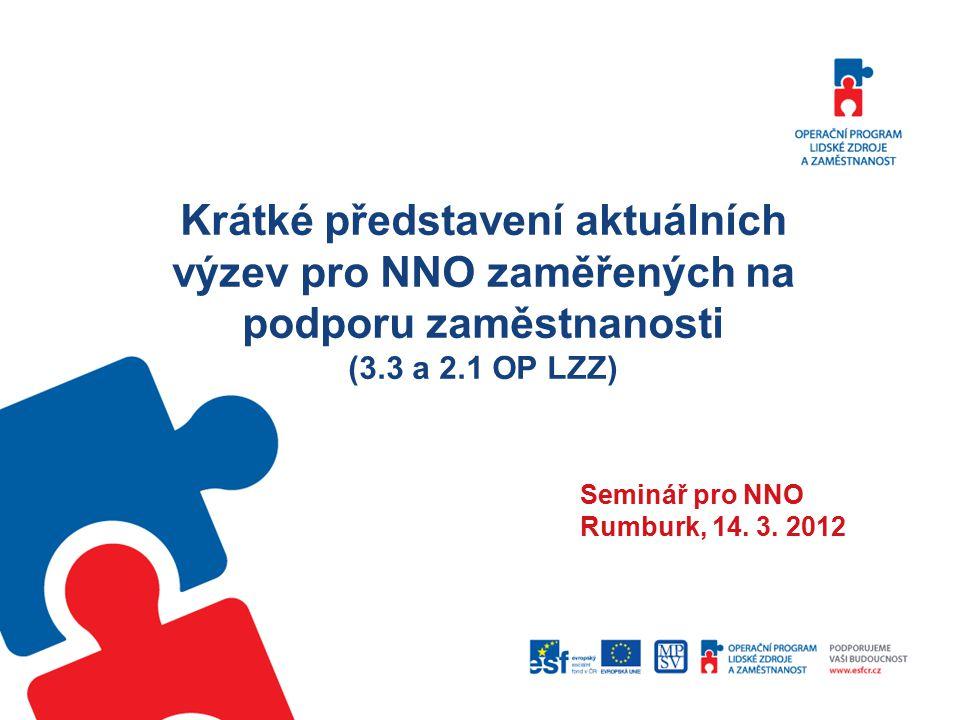 Krátké představení aktuálních výzev pro NNO zaměřených na podporu zaměstnanosti (3.3 a 2.1 OP LZZ) Seminář pro NNO Rumburk, 14.