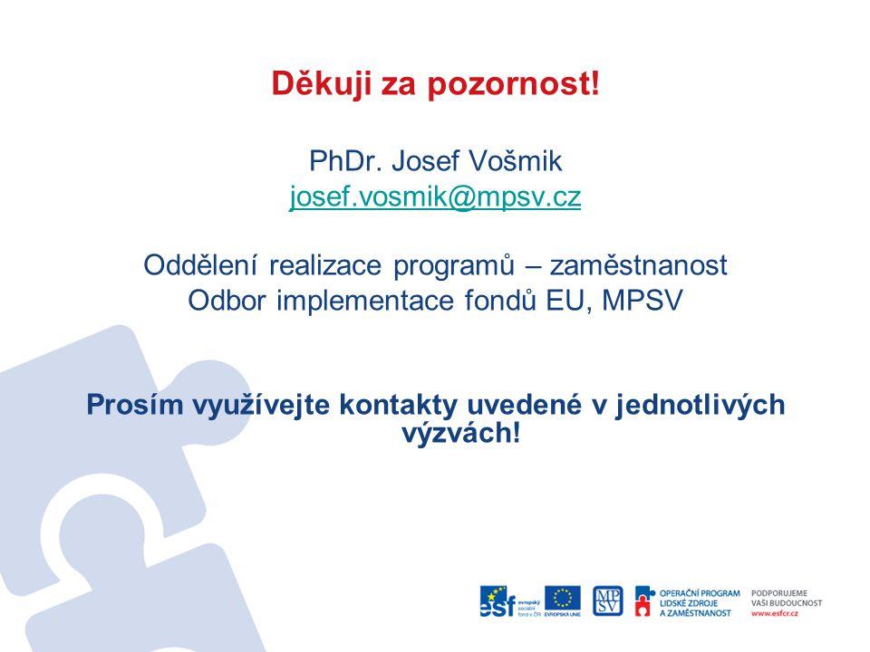 Děkuji za pozornost! PhDr. Josef Vošmik josef.vosmik@mpsv.cz Oddělení realizace programů – zaměstnanost Odbor implementace fondů EU, MPSV Prosím využí