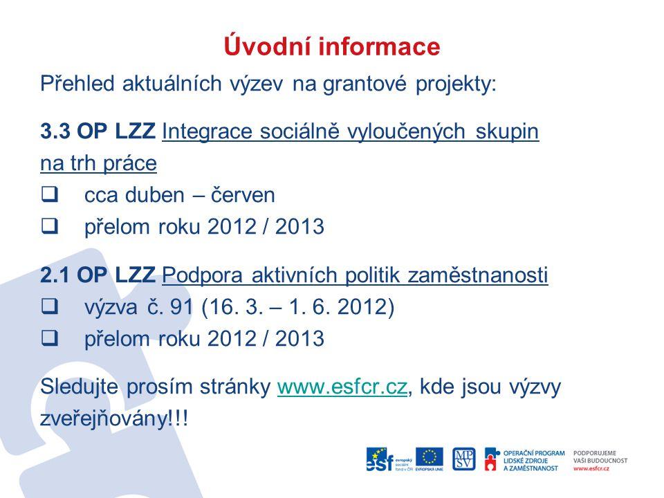 Úvodní informace Přehled aktuálních výzev na grantové projekty: 3.3 OP LZZ Integrace sociálně vyloučených skupin na trh práce  cca duben – červen  přelom roku 2012 / 2013 2.1 OP LZZ Podpora aktivních politik zaměstnanosti  výzva č.