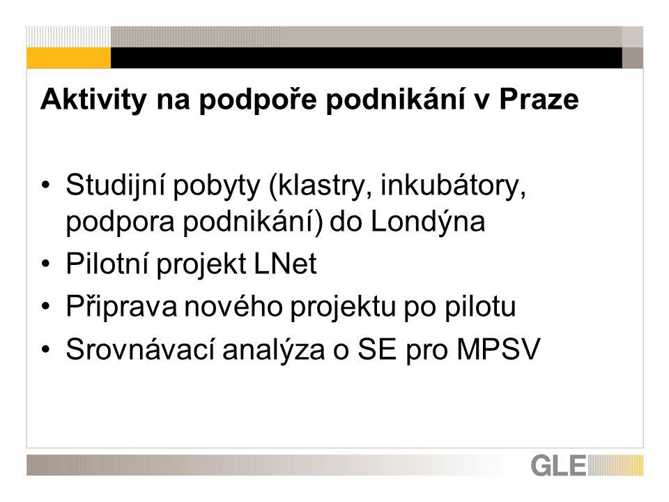 Aktivity na podpoře podnikání v Praze Studijní pobyty (klastry, inkubátory, podpora podnikání) do Londýna Pilotní projekt LNet Připrava nového projektu po pilotu Srovnávací analýza o SE pro MPSV