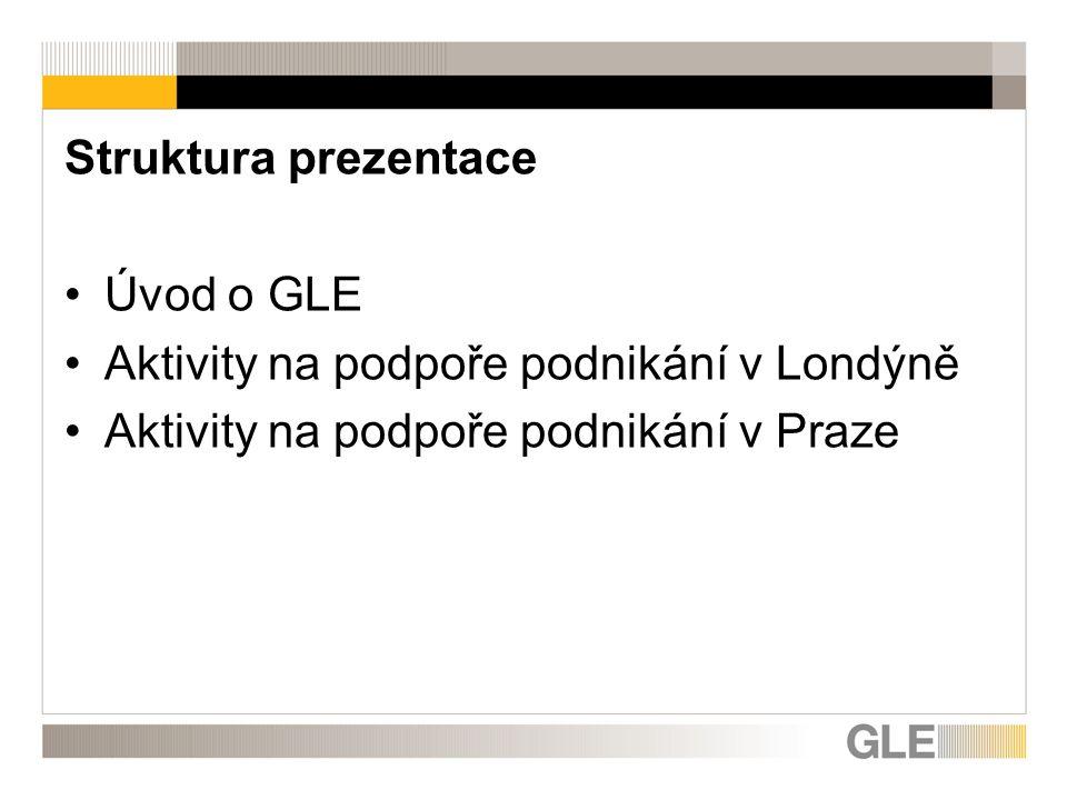 Struktura prezentace Úvod o GLE Aktivity na podpoře podnikání v Londýně Aktivity na podpoře podnikání v Praze