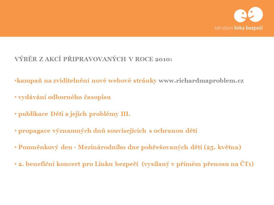 VÝBĚR Z AKCÍ PŘIPRAVOVANÝCH V ROCE 2010: kampaň na zviditelnění nové webové stránky www.richardmaproblem.cz vydávání odborného časopisu publikace Děti a jejich problémy III.