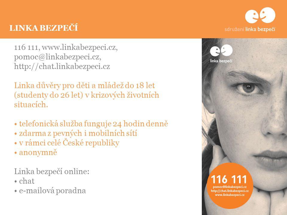 116 111, www.linkabezpeci.cz, pomoc@linkabezpeci.cz, http://chat.linkabezpeci.cz Linka důvěry pro děti a mládež do 18 let (studenty do 26 let) v krizových životních situacích.