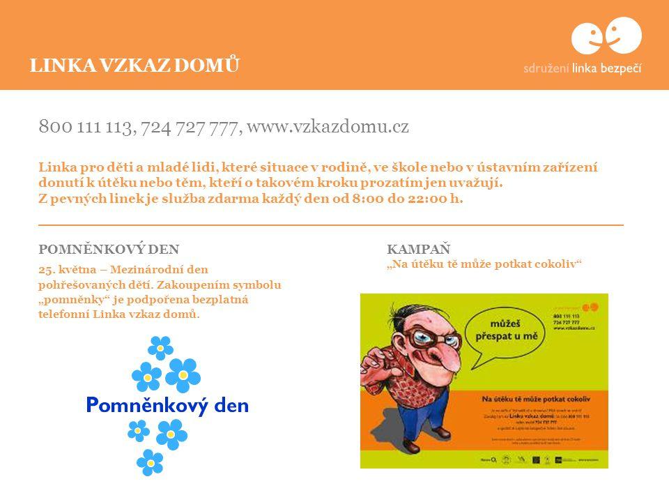 800 111 113, 724 727 777, www.vzkazdomu.cz Linka pro děti a mladé lidi, které situace v rodině, ve škole nebo v ústavním zařízení donutí k útěku nebo těm, kteří o takovém kroku prozatím jen uvažují.