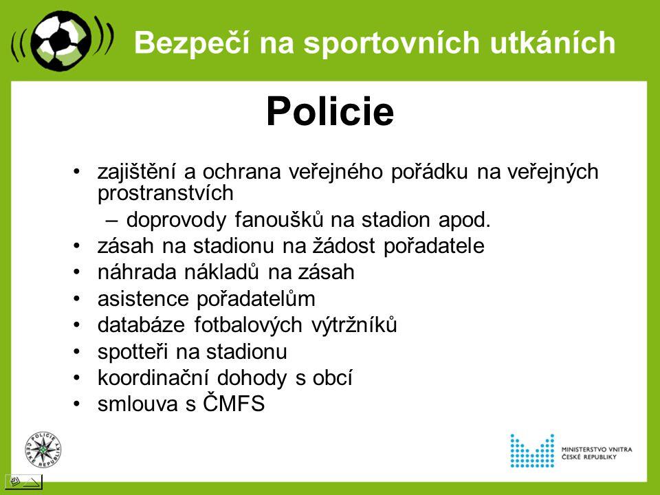 Policie zajištění a ochrana veřejného pořádku na veřejných prostranstvích –doprovody fanoušků na stadion apod. zásah na stadionu na žádost pořadatele