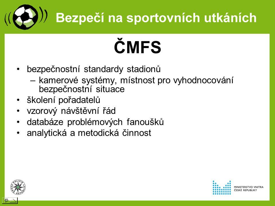 ČMFS bezpečnostní standardy stadionů –kamerové systémy, místnost pro vyhodnocování bezpečnostní situace školení pořadatelů vzorový návštěvní řád databáze problémových fanoušků analytická a metodická činnost