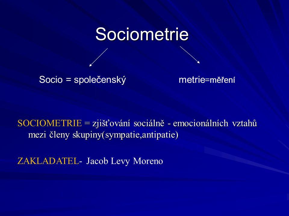 Sociometrie = zjišťování sociálně - emocionálních vztahů mezi členy skupiny(sympatie,antipatie) SOCIOMETRIE = zjišťování sociálně - emocionálních vztahů mezi členy skupiny(sympatie,antipatie) ZAKLADATEL- Jacob Levy Moreno Socio = společenskýmetrie =měření