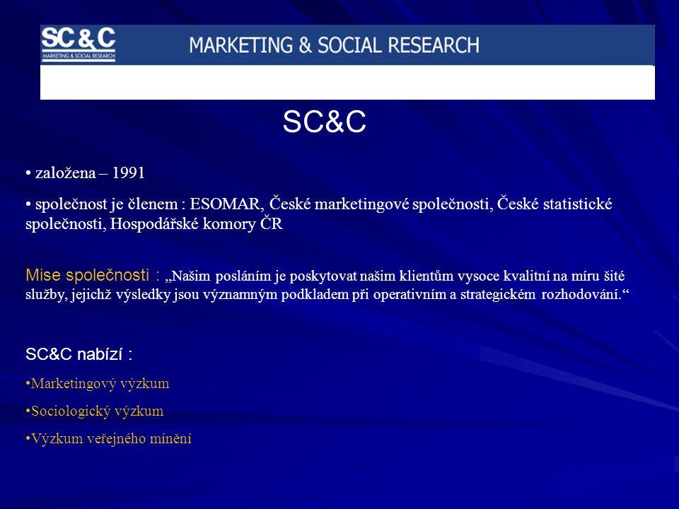 SC&C založena – 1991 společnost je členem : ESOMAR, České marketingové společnosti, České statistické společnosti, Hospodářské komory ČR Mise společnosti :,,Našim posláním je poskytovat našim klientům vysoce kvalitní na míru šité služby, jejichž výsledky jsou významným podkladem při operativním a strategickém rozhodování.'' SC&C nabízí : Marketingový výzkum Sociologický výzkum Výzkum veřejného mínění