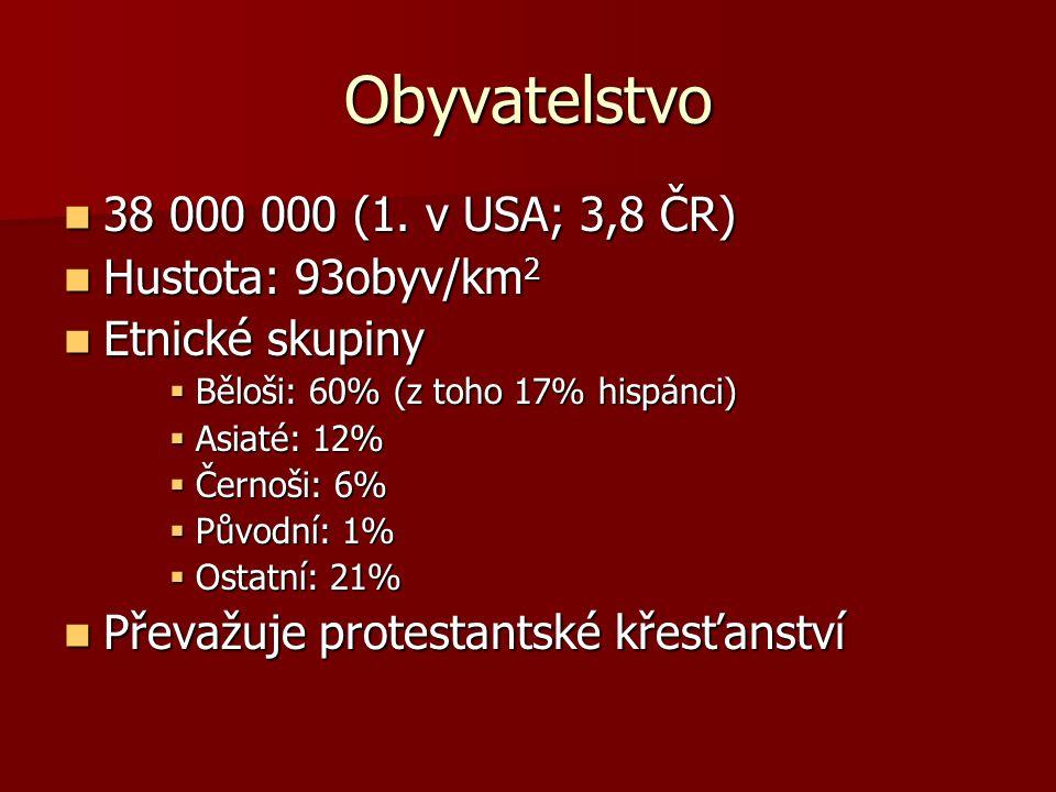 Obyvatelstvo 38 000 000 (1. v USA; 3,8 ČR) 38 000 000 (1. v USA; 3,8 ČR) Hustota: 93obyv/km 2 Hustota: 93obyv/km 2 Etnické skupiny Etnické skupiny  B