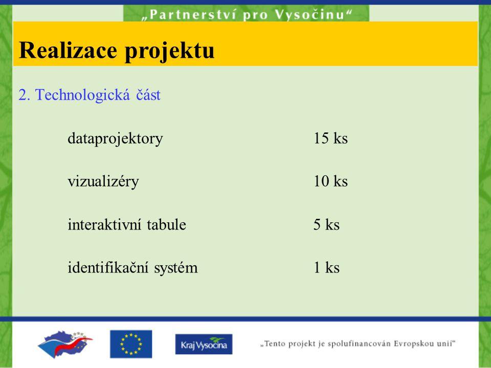 2. Technologická část dataprojektory15 ks vizualizéry10 ks interaktivní tabule5 ks identifikační systém1 ks Realizace projektu