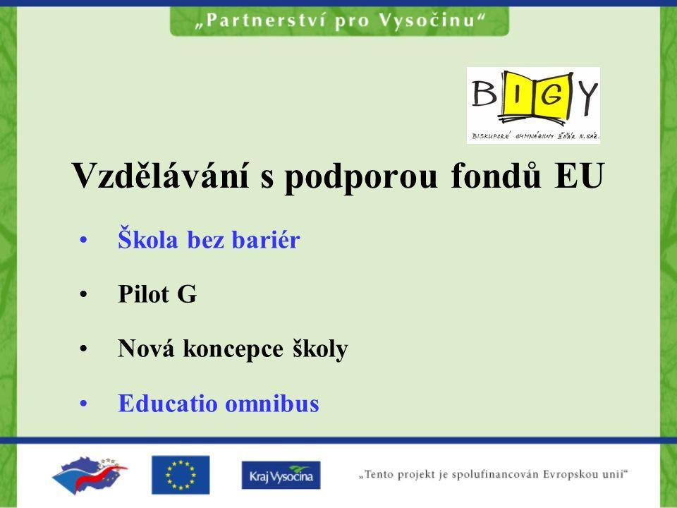 Vzdělávání s podporou fondů EU Škola bez bariér Pilot G Nová koncepce školy Educatio omnibus