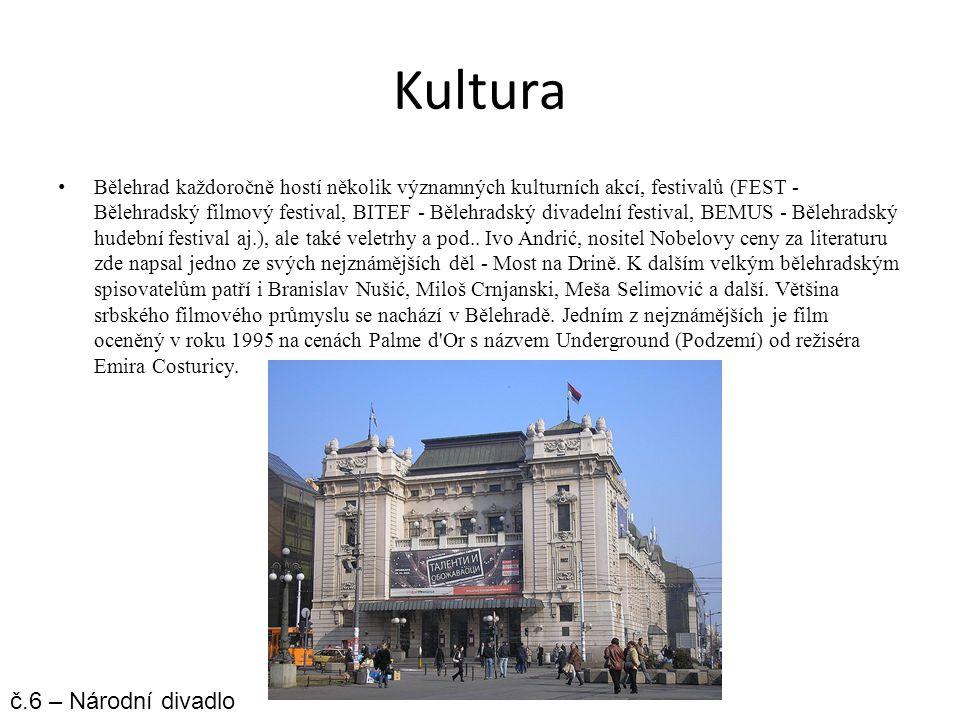 Kultura Bělehrad každoročně hostí několik významných kulturních akcí, festivalů (FEST - Bělehradský filmový festival, BITEF - Bělehradský divadelní fe