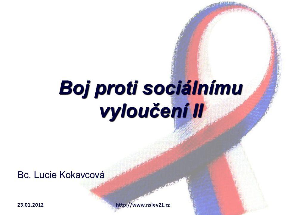 Boj proti sociálnímu vyloučení II Bc. Lucie Kokavcová 23.01.2012http://www.nslev21.cz