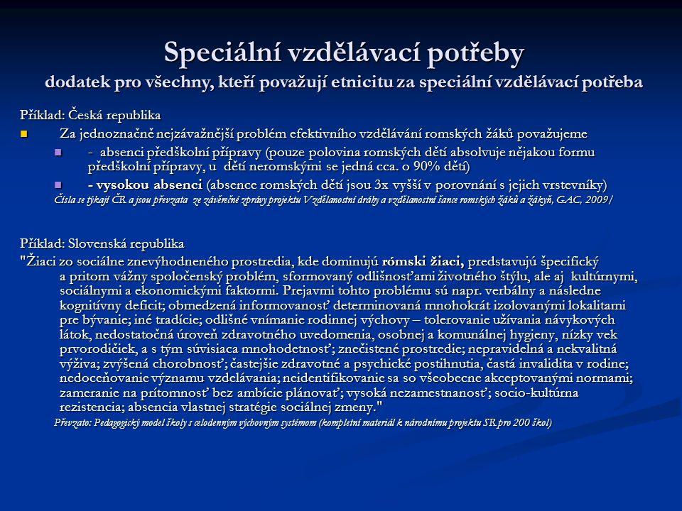 Příklad: Česká republika Za jednoznačně nejzávažnější problém efektivního vzdělávání romských žáků považujeme Za jednoznačně nejzávažnější problém efe
