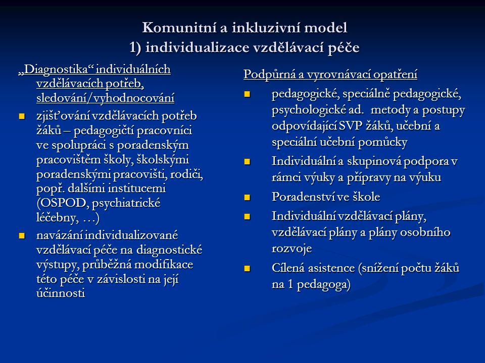 Komunitní a inkluzivní model 1) individualizace vzdělávací péče Podpůrná a vyrovnávací opatření pedagogické, speciálně pedagogické, psychologické ad.