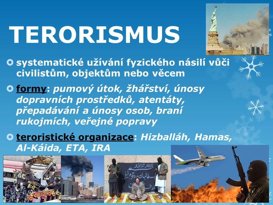 TERORISMUS  systematické užívání fyzického násilí vůči civilistům, objektům nebo věcem  formy: pumový útok, žhářství, únosy dopravních prostředků, atentáty, přepadávání a únosy osob, braní rukojmích, veřejné popravy  teroristické organizace: Hizballáh, Hamas, Al-Káida, ETA, IRA
