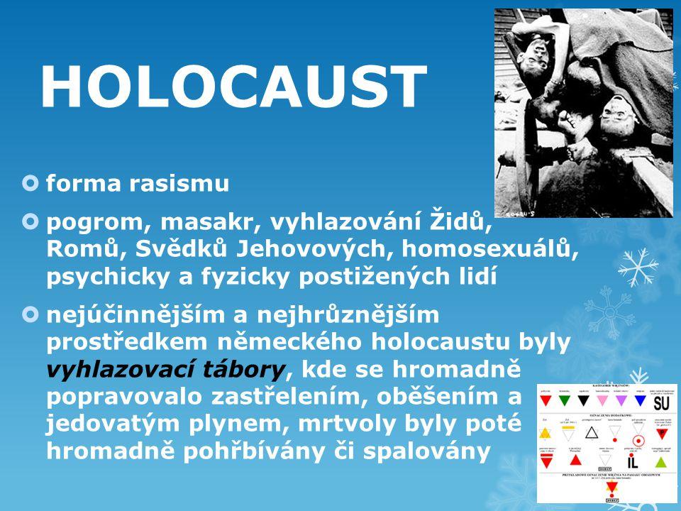 HOLOCAUST  forma rasismu  pogrom, masakr, vyhlazování Židů, Romů, Svědků Jehovových, homosexuálů, psychicky a fyzicky postižených lidí  nejúčinnějším a nejhrůznějším prostředkem německého holocaustu byly vyhlazovací tábory, kde se hromadně popravovalo zastřelením, oběšením a jedovatým plynem, mrtvoly byly poté hromadně pohřbívány či spalovány