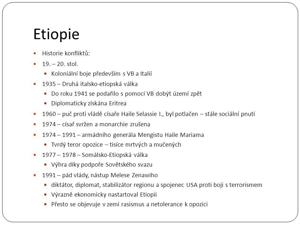 Etiopie Historie konfliktů: 19. – 20. stol. Koloniální boje především s VB a Italií 1935 – Druhá italsko-etiopská válka Do roku 1941 se podařilo s pom