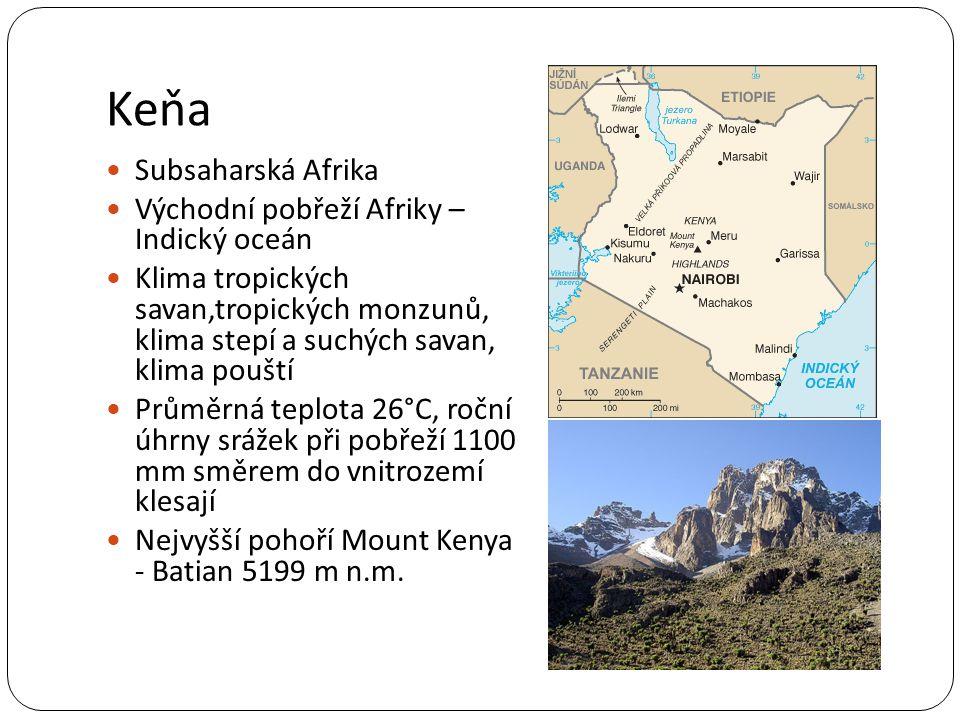 Keňa Hlavní město Nairobi (4M), další města Mombasa a Kisumu Republika – prezident Uhuru Kenyatta Angličtina,svahilština 44 milionů obyvatel Až 50 etnických skupin 82,5 % křesťané (47 % protestanti), 11 % muslimové HDP – 1700$/obyv.