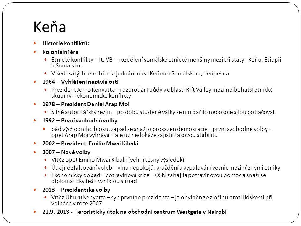 Keňa Historie konfliktů: Koloniální éra Etnické konflikty – It, VB – rozdělení somálské etnické menšiny mezi tři státy - Keňu, Etiopii a Somálsko. V š