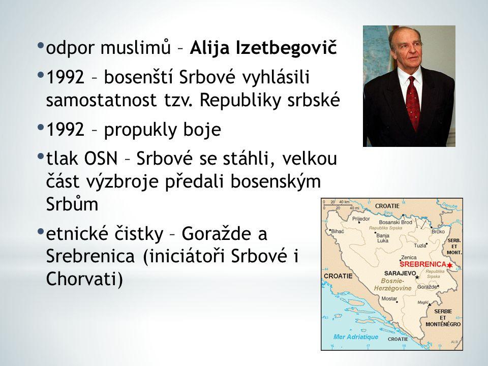 odpor muslimů – Alija Izetbegovič 1992 – bosenští Srbové vyhlásili samostatnost tzv. Republiky srbské 1992 – propukly boje tlak OSN – Srbové se stáhli