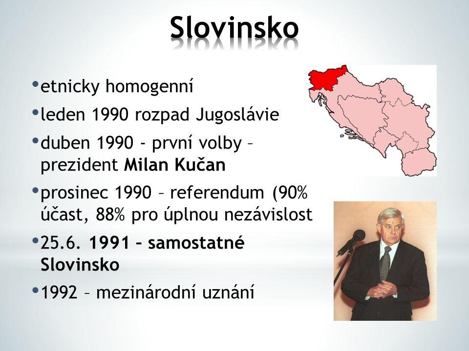 etnicky homogenní leden 1990 rozpad Jugoslávie duben 1990 - první volby – prezident Milan Kučan prosinec 1990 – referendum (90% účast, 88% pro úplnou