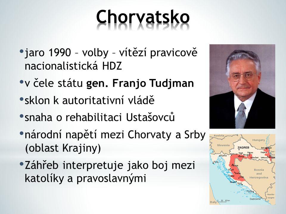 jaro 1990 – volby – vítězí pravicově nacionalistická HDZ v čele státu gen. Franjo Tudjman sklon k autoritativní vládě snaha o rehabilitaci Ustašovců n