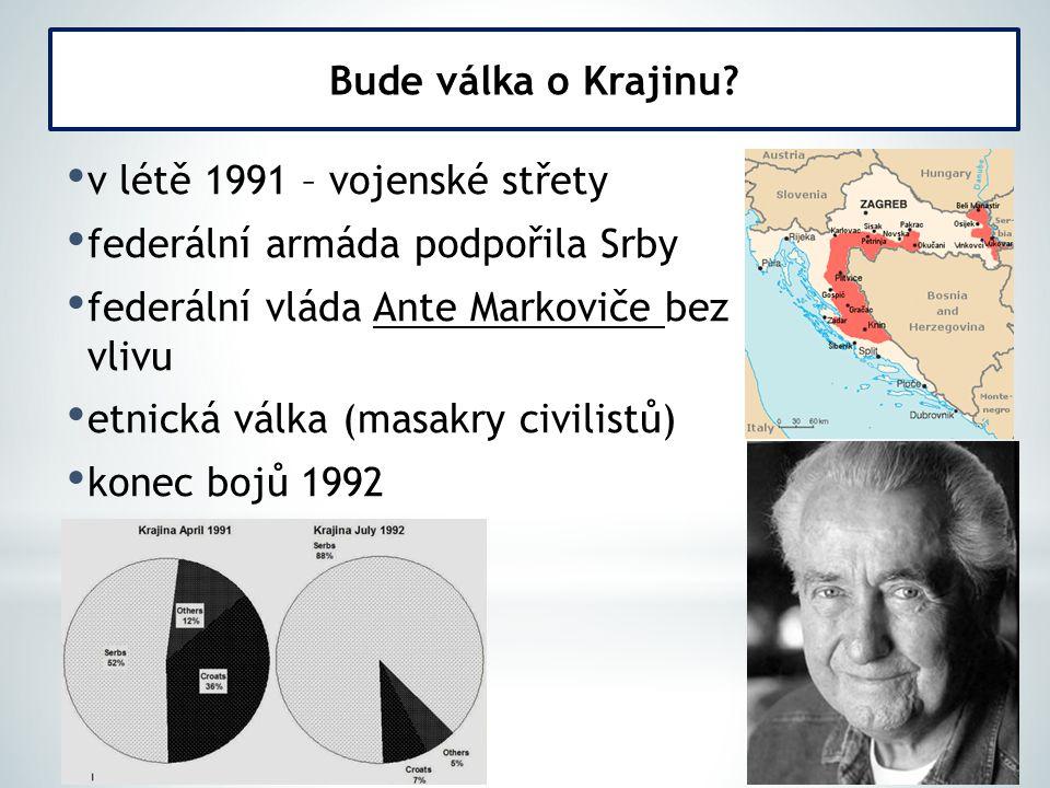 v létě 1991 – vojenské střety federální armáda podpořila Srby federální vláda Ante Markoviče bez vlivu etnická válka (masakry civilistů) konec bojů 19