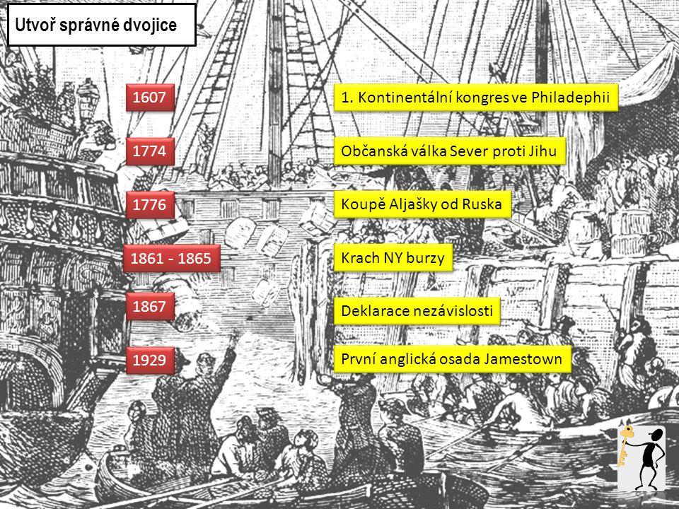 1607 1774 1776 1861 - 1865 První anglická osada Jamestown 1. Kontinentální kongres ve Philadephii Deklarace nezávislosti Občanská válka Sever proti Ji