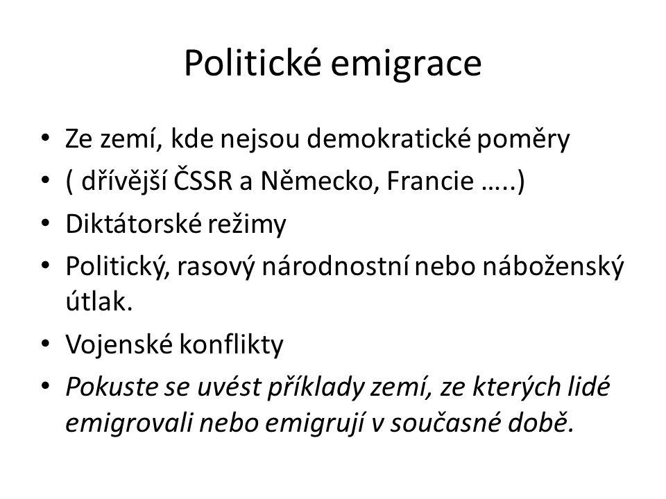 Politické emigrace Ze zemí, kde nejsou demokratické poměry ( dřívější ČSSR a Německo, Francie …..) Diktátorské režimy Politický, rasový národnostní ne