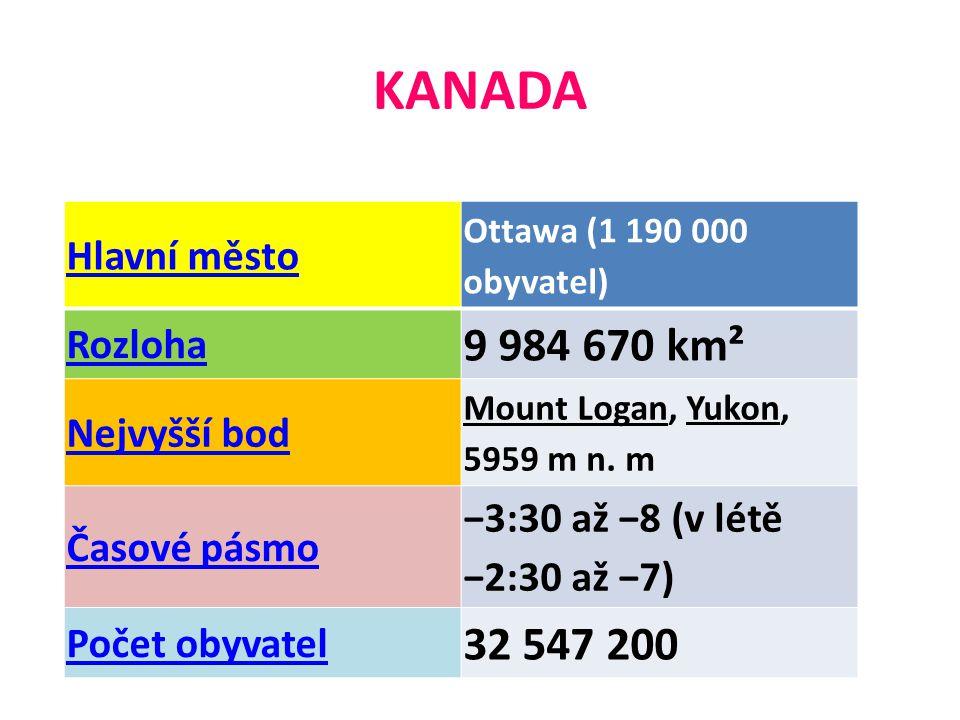 Hlavní město Ottawa (1 190 000 obyvatel) Rozloha 9 984 670 km² Nejvyšší bod Mount Logan, Yukon, 5959 m n.