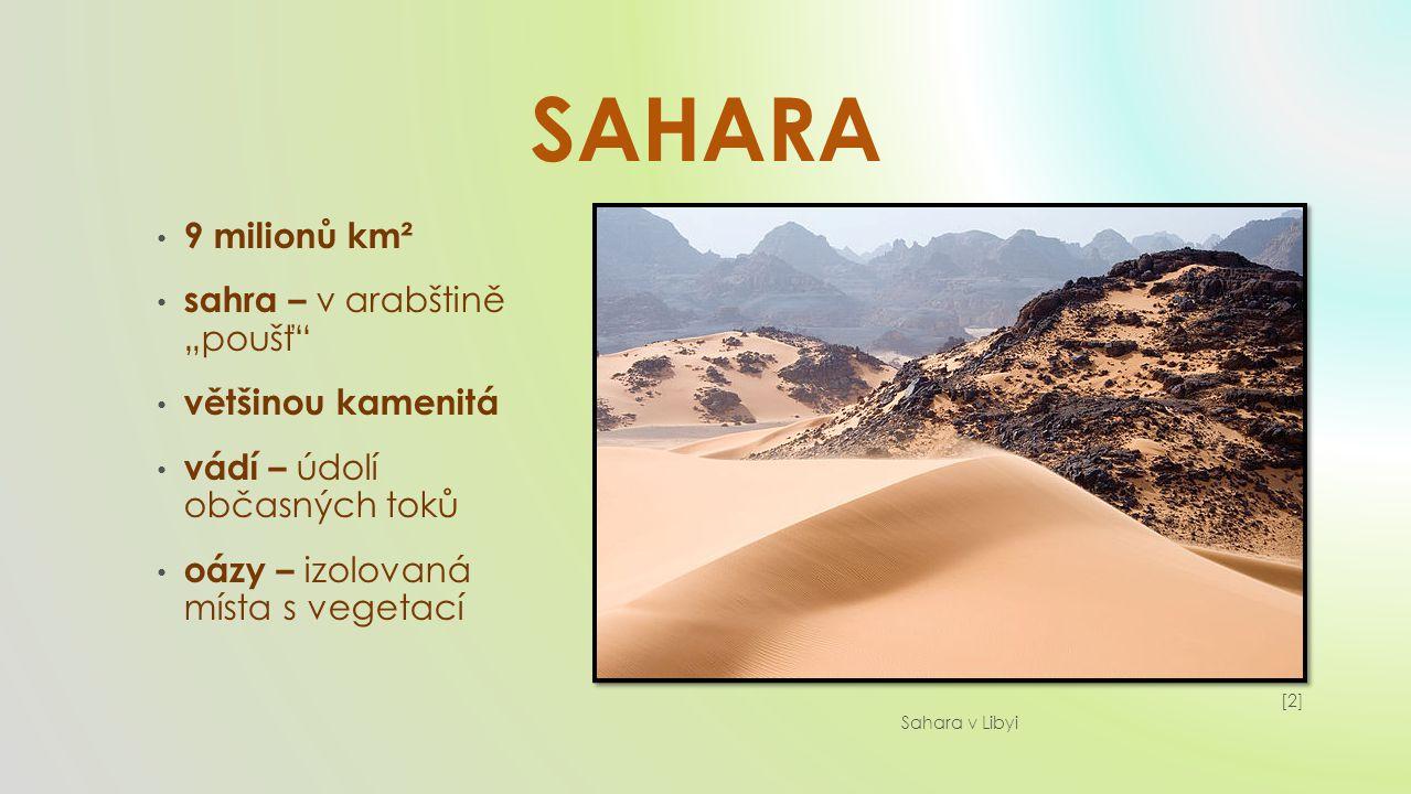 SAHARA desertifikace – rozšiřování pouště přepásání – spásání větší než přírůstek obyvatelé – Tuaregové, Berbeři, Arabové (kočovníci) duny – písečné přesypy [3][3] Sahara v Mauritánii