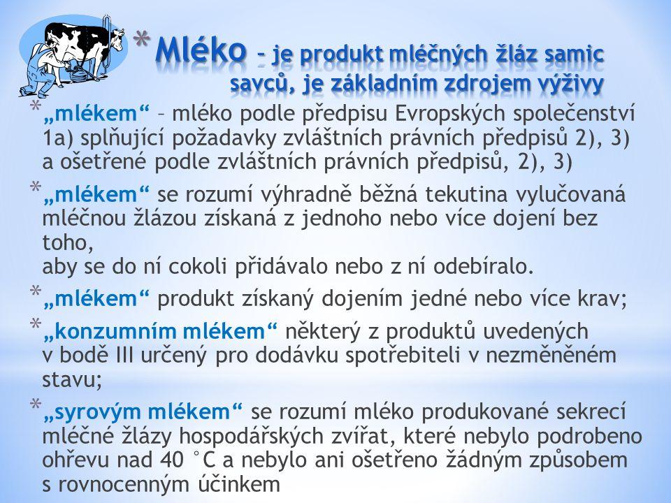 """* """"mlékem"""" – mléko podle předpisu Evropských společenství 1a) splňující požadavky zvláštních právních předpisů 2), 3) a ošetřené podle zvláštních práv"""