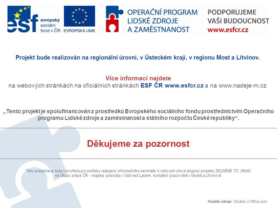 """Děkujeme za pozornost """"Tento projekt je spolufinancován z prostředků Evropského sociálního fondu prostřednictvím Operačního programu Lidské zdroje a zaměstnanost a státního rozpočtu České republiky ."""