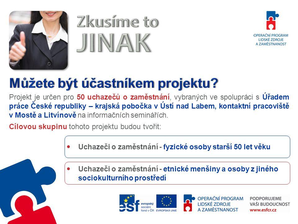 Projekt je určen pro 50 uchazečů o zaměstnání, vybraných ve spolupráci s Úřadem práce České republiky – krajská pobočka v Ústí nad Labem, kontaktní pracoviště v Mostě a Litvínově na informačních seminářích.