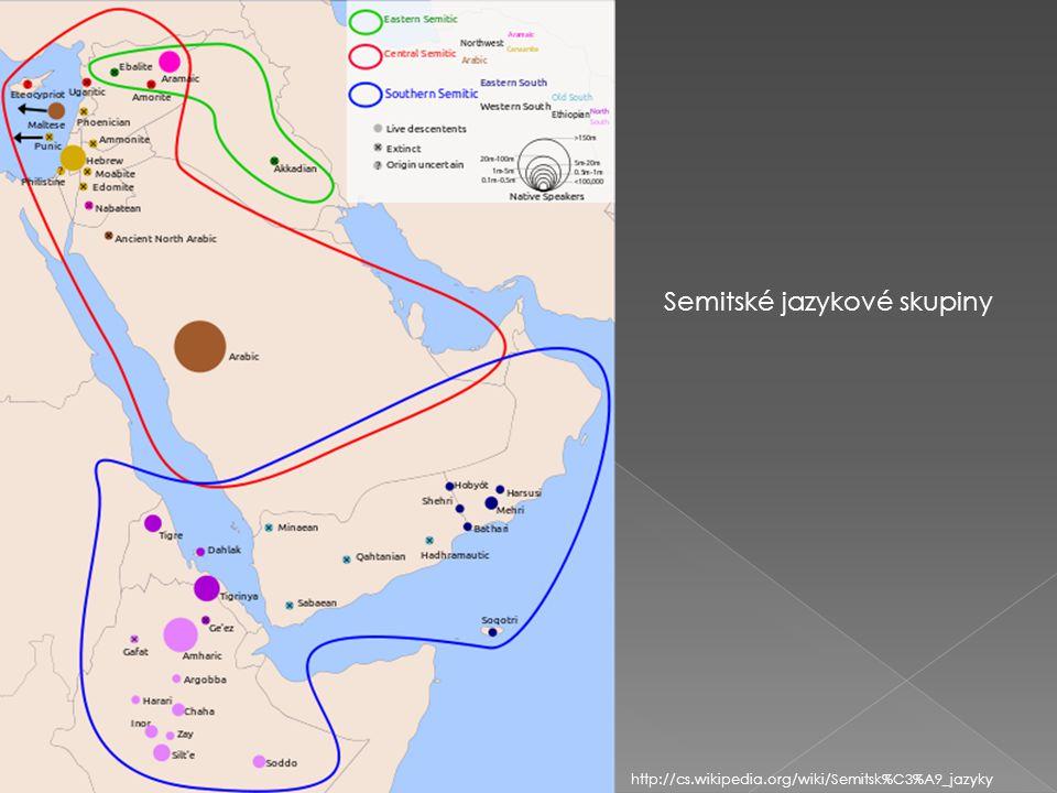 Semitské jazykové skupiny http://cs.wikipedia.org/wiki/Semitsk%C3%A9_jazyky